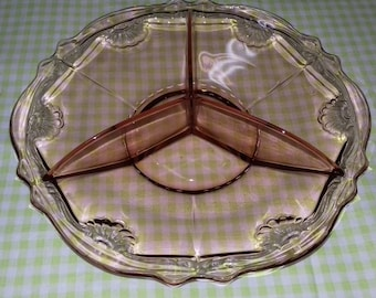 Sweets/Candy dish from red/brown glass from the 1930s