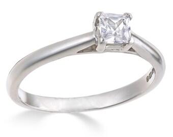 1/4 carat premium princess cut white gold diamond solitaire engagement ring