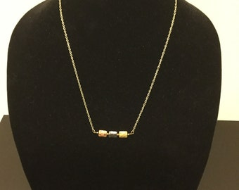 Simple mixed metal rectangle necklace