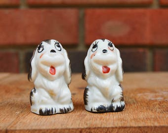 Porcelain Dog Salt and Pepper Shakers Made in Japan