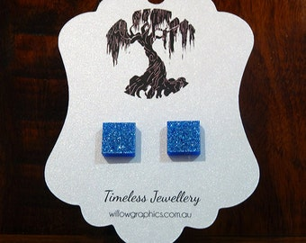 Blue Square Earring Studs