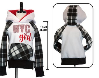 Hoodie Girls Small NYC Rhinestones Red Black White Plaid Soft by Lonely Hearts Designs