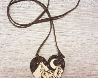 Landscape wood necklace