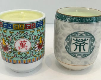 2 Melon Scented Asian Design Soy Candles in Chinese Teacups