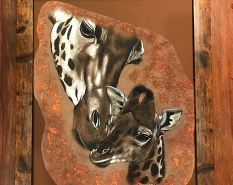 Pyrography / painted Giraffe and Baby on Leather