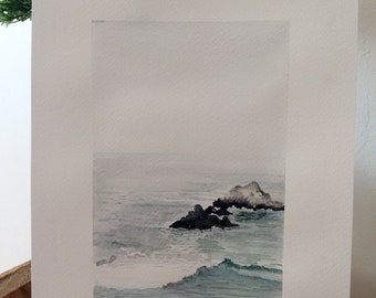 Handmade watercolours painting Ocean rocks, sea ,Original Signed