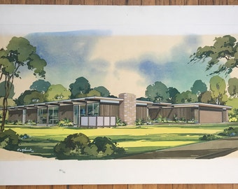 Original Architectural Rendering Mid-Century Modern Residence-  Watercolor