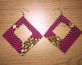 African Print Diamond Hooped Earrings