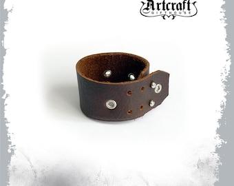 Celtic leather bracelet Viking leather bracer for him Steampunk leather wristband for men Men's leather cuff Brown leather wrist cuff
