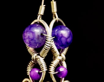 purple agate and amethyst silver wire wrapped earring