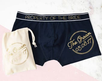 Groom's Property Of The Bride, Wedding Date Boxers, Cocktail Theme Wedding, Neon Sign, Wedding lingerie, Wedding boxers, Gift for the Groom