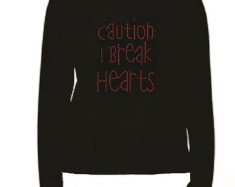 Rhinestone Break Hearts Long Sleeve T Shirt                                                   L-R RS4X