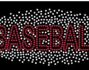 Baseball Scatter Rhinestone Iron on Transfer                                                            ACWV