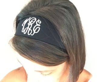 Headband Monogrammed Embroidered Personalized Initials
