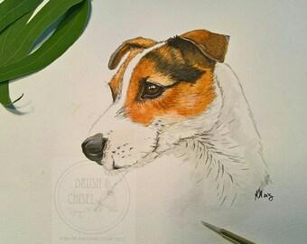 Custom pet portrait, handpainted