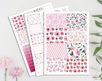 Floral Printable Planner Stickers, Cut Files, Instant Download, Silhouette Cameo, Planner Printables. Functional Stickers, Digital, Floral