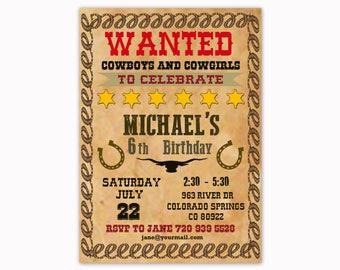Cowboy Birthday Invitation, Westert Invitation, Wild West Invitation, Cowboy Party Invite, Cowboy Invite, Western Invite