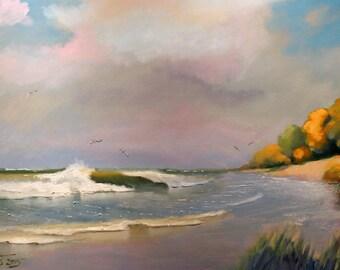 Large, Marine Oil Painting 50X70CM, Sea on Canvas, Coast Seascape!