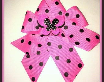 Hot Pink & Black Polka dot Hair Bow with tails