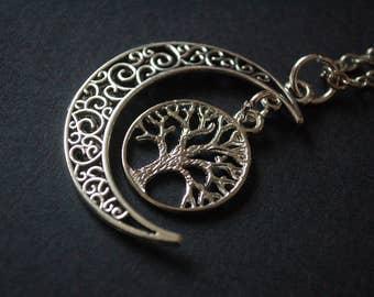 half moon tree of life necklace
