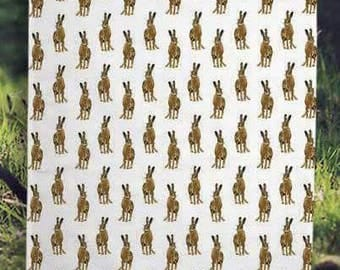 Hare pattern tea towel