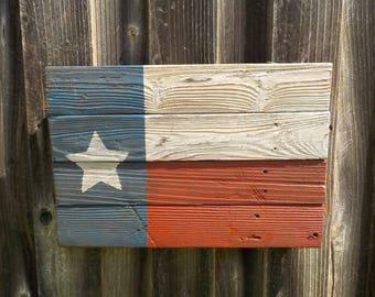 Hand made barn wood Texas flag