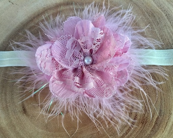 READY TO SHIP**Pink flower headband, Easter flower headband, baby flower headband, pink marabou headband, Easter headband