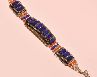 Tibetan Jewellry,Boho Bracelet, Trible Style Lapis & Coral Engagement Gift