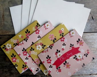Oh, Joy! Flower Pattern Blank Notecards Set of 4 Cards and Envelopes Floral Greeting Cards Set of blank cards