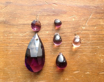 Antique Purple Glass Chandelier Crystal and Pendants