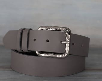 Leather Belt, Gray Leather Belt, Womens Belt, Fashion Belt
