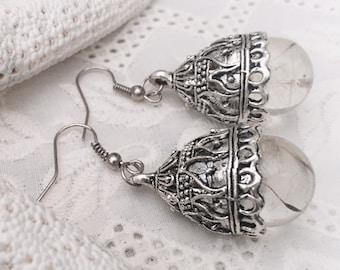 Dandelion Resin Earrings, Wishes gypsy boho earrings
