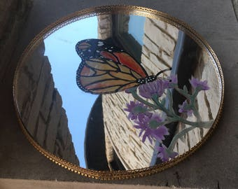 Hand Painted Mirror Lazy Susan