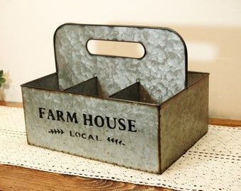 Farmhouse Galvanized Caddy, Farmhouse Table Centerpiece, Farmhouse Kitchen, Country Kitchen, Metal table centerpiece, Fixer upper style