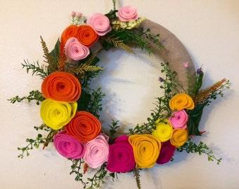 Flannel Wrapped Felt Flowers Wreath