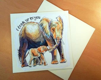 Elephant | Cute Mother's Day Card | Elephant Card | Handmade Card