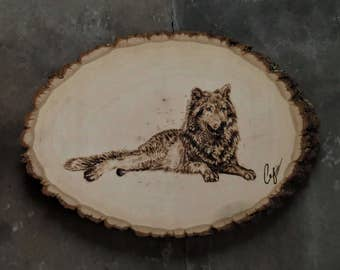 Wood-Burning: Resting Gray Wolf