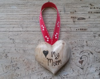 hand carved mothers day heart