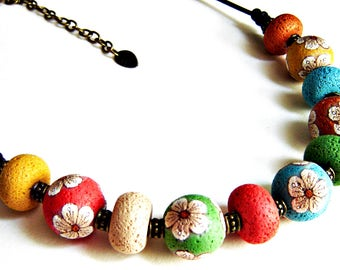 Polymer clay bead necklace: Statement necklace, Unique jewelry, Polymer clay necklace, Clay choker, wife jewelry