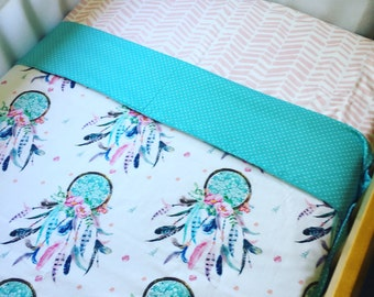 Reversible cot blanket - dream catchers and pastel aqua - lovely big size