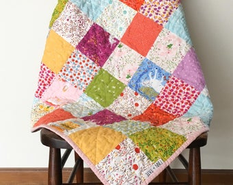 Far Far Away Baby Quilt, Whimsical Baby Quilt, Modern Baby Quilt, Fairy Tale Quilt, Baby Girl Quilt, Magenta, Green, Yellow, Blue, Floral