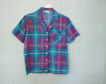 Vintage Plaid Short Sleeve Top *Flat Rate Shipping* [Cute Vintage Top Shirt Blouse Women's Size Large] Purple Turquoise