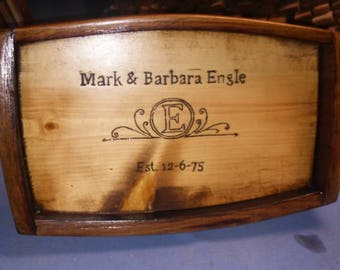 Custom Engraved Wine Barrel Serving Tray