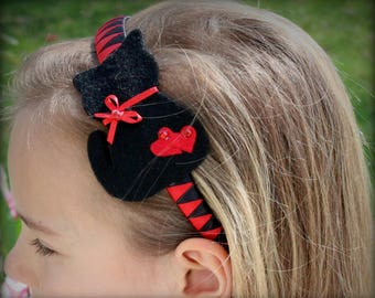 Handmade,  Felt Cat,  Black And Red  Satin Ribbon,  Parties , Special Occasion, Head Band