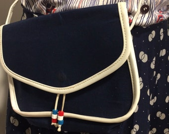 Complete original vintage outfit 70's - rock blouse and bag! blue white red - Navy style!