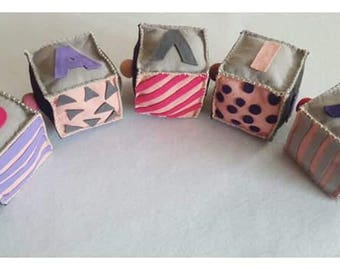 Handmade personalized viscose felt cubes blocks price per cube.Made to order.