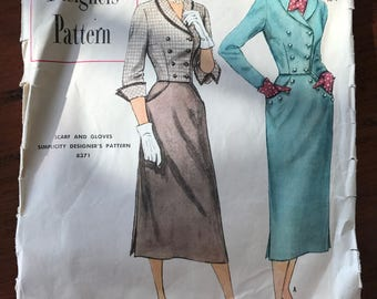Vintage Simplicity 'Designer's' Pattern - Two Piece Suit Dress - Size 14, Bust 32