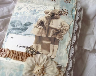 Spring Beauties, fabric and lace junk journal TUTORIAL printable kit.