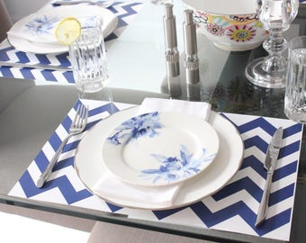 Chevron Paper Placemats // Navy and White // Paper Placemats // Chevron // Party Decor // Set of 24 Sheets