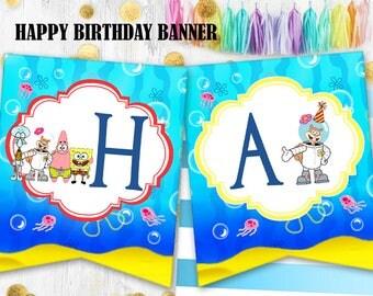 SpongeBob banner Happy birthday banner bunting SpongeBob birthday decoration